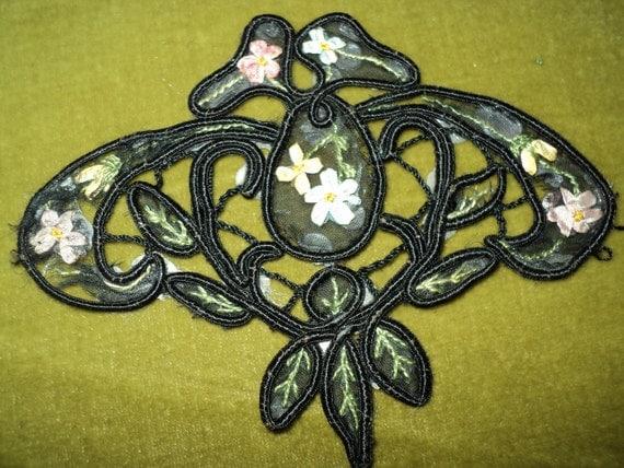 Antique Victorian Edwardian Ribbonwork Silk Appliques 1920s