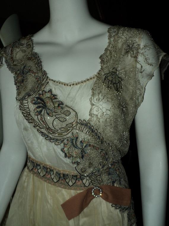 FINAL SALE Edwardian Titanic Era Silk Lace Embroidered wedding dress 1920s Period Couture Bridal Extraordinary