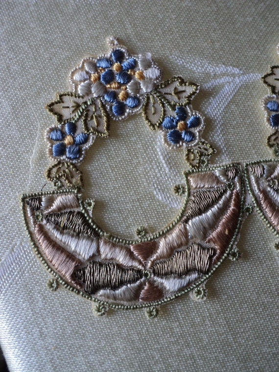Antique French Edwardain Silk Embroidered Metallic Floral Wreath Applique New Old Stock Original
