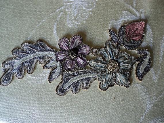 Antique 1920s Silk Ombre Ribbon with Chenille Metallic Floral Applique Soutache edge Ribbonwork