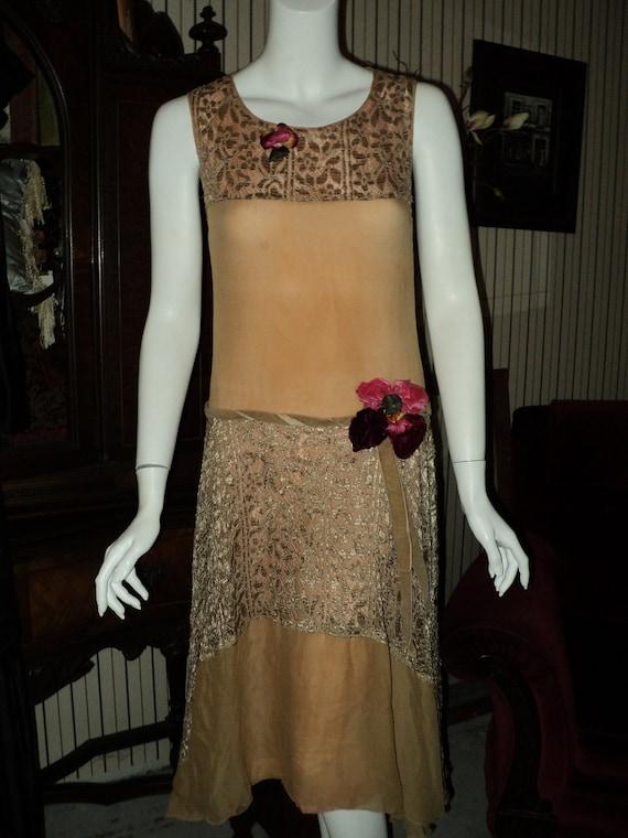 1920s Crepe and silk lace drop waist dress Velvet flowers