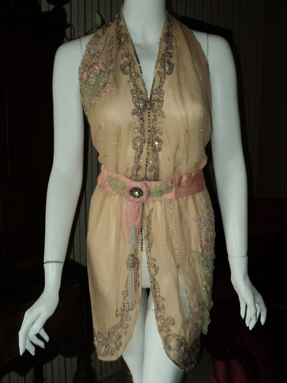 Handmade 1920s Silk Beaded Tunic Rhinestone Applique Dress Bellasoiree Design