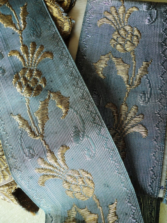 Antique Metallic Embroidered Trim 19th C French Pomegranite Textile Pillow Woven French Blue