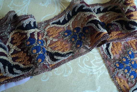 1920s Original Art Deco metallic  Embroidered Trim Floral on net perfect for clothing antique supplies ON HOLD DNP