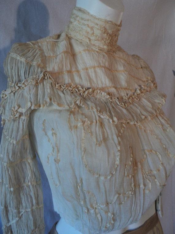 Wedding bodice Ruched Chiffon Edwardian Era Great for Display or study small size
