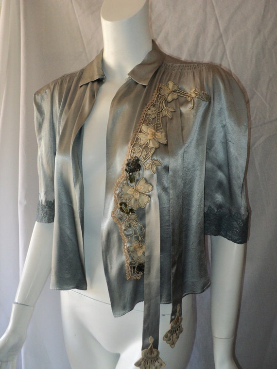 Edwardian/ Art Deco Bed Jacket Embellished with Floral Applique Soutache and Sequins Basket metallic lace