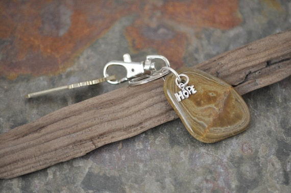 Key Chain with Natural Beach Rock and Silver Colored Charm