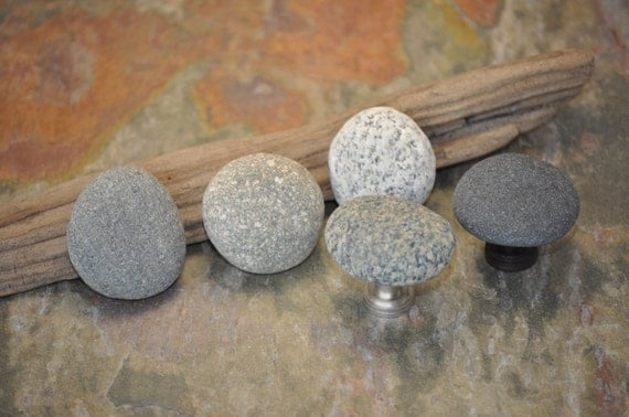 Beach Rock Cabinet Knobs - Set of 5 Small Stones