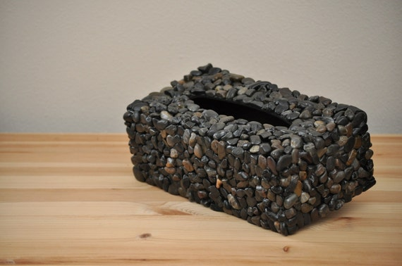 Mosaic Style Stone Tissue Box Cover - Dark Pebbles
