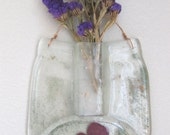 Recycled Glass Jar Hanging Wall Vase with Copper Flower Inside