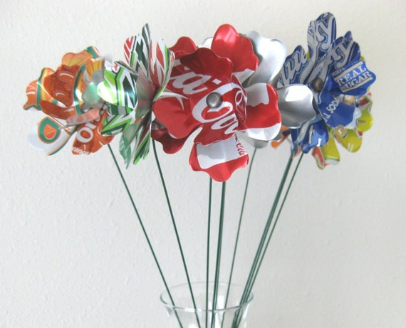 10th Anniversary Aluminum Flowers from Recycled Cans