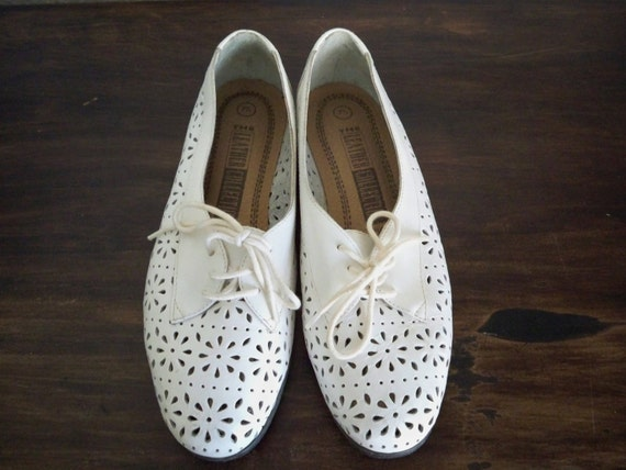 Sale: White Leather cut out  Shoes