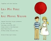 Balloon Wedding Invitation. Vintage Inspired Retro. Hand Drawn and  Illustrated. Sample set.