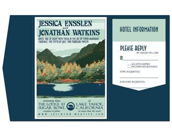Vintage Lake Tahoe Wedding Invitation Pocket Fold, Info Card and Reply Postcard (set of 20)