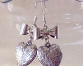 Antique Silver Heart and Bow Earrings