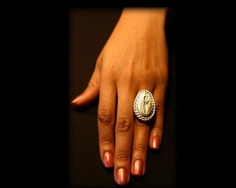 African Adinkra Symbol Cowrie shell ring sterling silver jewelry