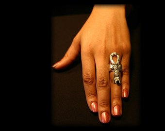 One of a kind EULJ Black Onyx Sterling Silver Ankh Ring