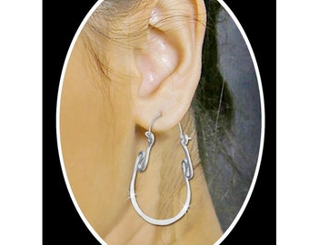 Unique Jewelry Sterling Silver Hoops Odd Shaped