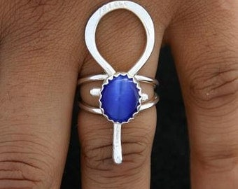 Sterling Silver Ankh Ring Stone Color Choice - Afrocentric Jewelry