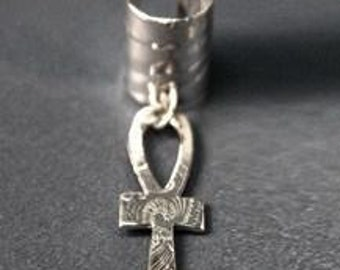 Ear Cuff Sterling Silver Ankh Jewelry Afrocentric Ancient Egyptian