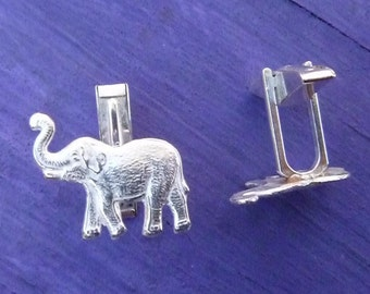 Cuff Links Good Luck Trunk Up Elephant Sterling Silver Jewelry