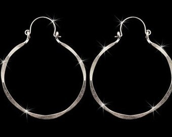 Hoop Earrings Hand Forged Sterling Silver Jewelry Vintage Inspired Afrocentric