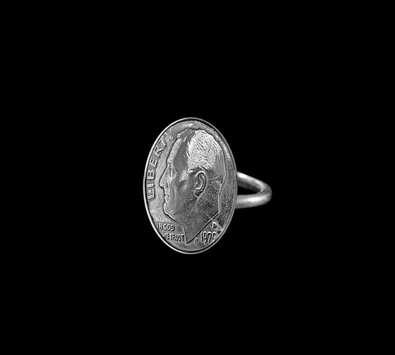 Coin Jewelry Dime Ring Sterling Silver Band Unisex