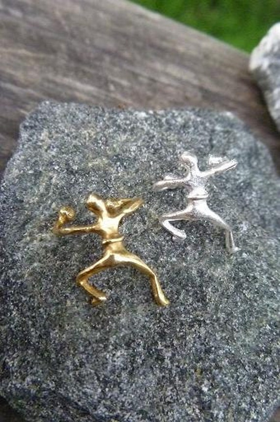 Sterling Silver and Brass Ear Cuff One of Each Dancing Man Style