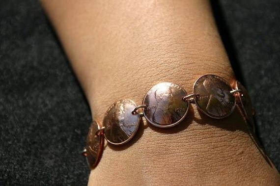 Coin Jewelry Vintage Copper Penny Coin Bracelet - Custom Dates for Special Occasions