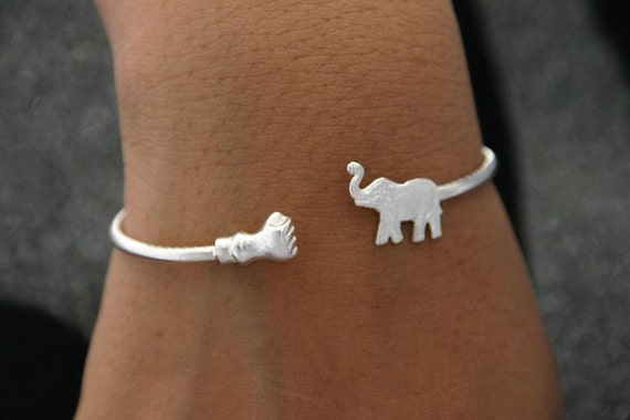 Silver Bracelet  Elephant fist Bangle