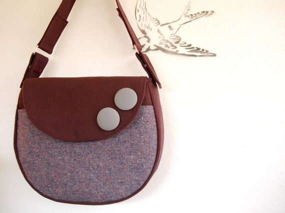 Orchid Vintage Tweed and Wine Shoulder Bag READY TO SHIP