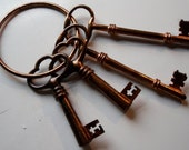 4 copper SKELETON keys VICTORIAN  RUSTIC  Cabinet key copper plate hardware gothic primitive medieval pendant charm jewelry  steam punk p2