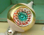 VINTAGE Mid Century Indent Glass Christmas Tree Ornament Silver Gold