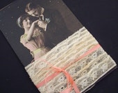 Vintage lace on tag with antique postcard copy tied with silk ribbon