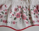 """1950s Vintage Valences set of 3 Red Pink Flowers 40"""" each"""