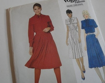 Vintage Vogue Sewing Pattern Guy Laroche Pleated Straight Dress Size 12