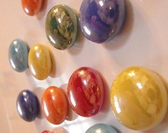 Handmade Glass Pebble Refrigerator Fiesta Magnets set of 24 Neodymium