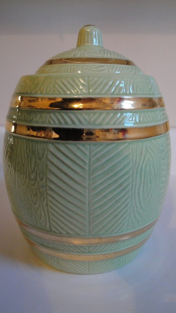 Vintage Acme Craftware Sage Gold Cookie Jar