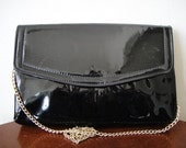 SALE -  80s Vintage Patent Leather Black Evening Bag
