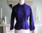 1950s Purple I Magnin Ladies Cropped Blazer Jacket Sz S