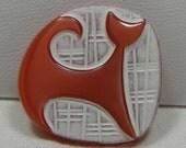 Modern Cat Czech Glass Button