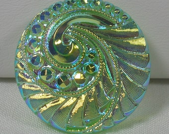 Feathery Swirl Czech Glass Button