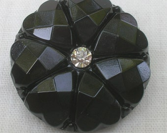 Elegant, Black Czech Glass Button