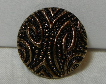 Medium Embossed Czech Glass Button