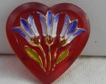 Red Heart Czech Glass Button