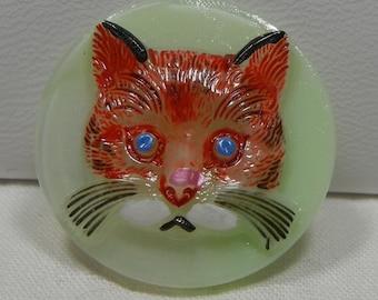 Cat Face Czech Glass Button