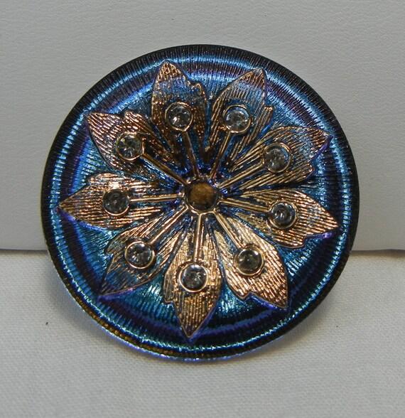 Rhinestone Sunburst Flower Czech Glass Button