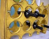 Handmade Wooden Wine Rack - Holds 12 Bottles - Handcrafted - Wood - Wet Bar - Home Wine Bar - Storage - Kitchen - Wedding Gift Ideas