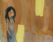 Vintage Reverse Painting - Original Artwork on Acrylic Material - 1970's - Little Girl Lost