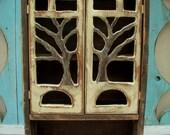 Medicine Storage - Small Wood Cabinet With Doors - Rustic Home Decor - Bathroom - Bath Storage - Shabby Cottage - Tree - 20 x 12 x 5.5